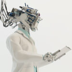 Connected cyborg in medical gown holding tablet in side angle