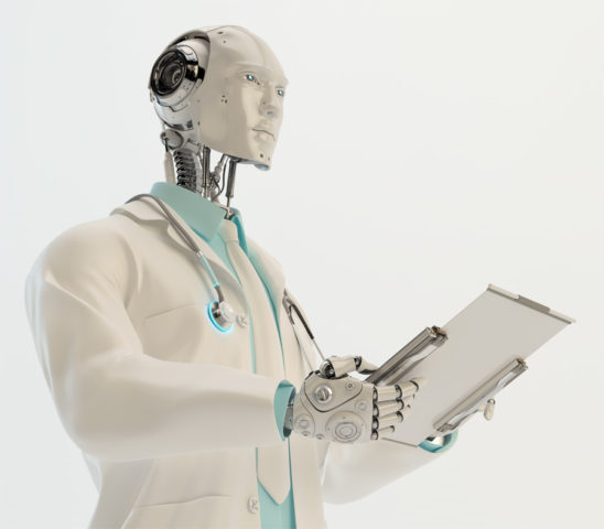 Humanoid robot doctor with stethoscope wears medical gown and tie holding tablet in profile
