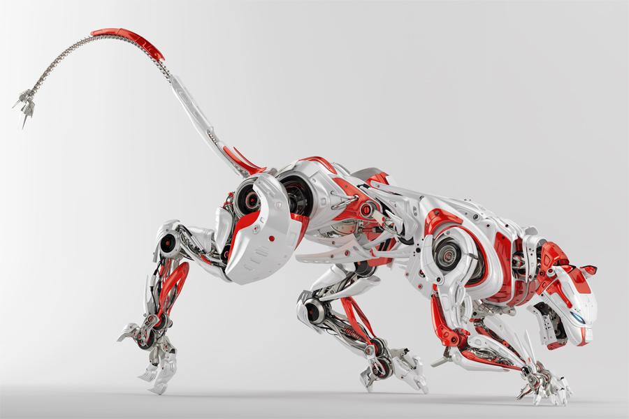 Wild red-white robotic panther 3d render