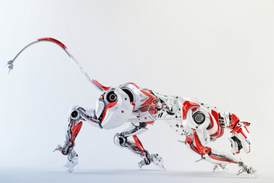Robot hunter - cyborg panther in white-red colors in side render