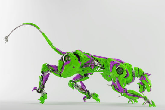 Green and violet wild panther robot