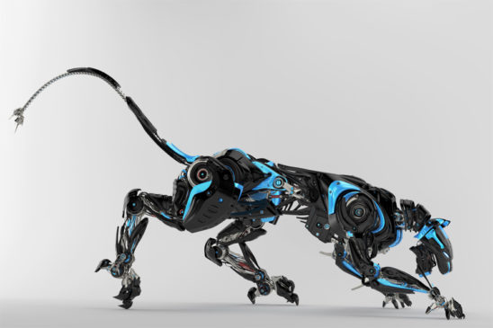 Black with blue elements robot panther 3d render in side angle