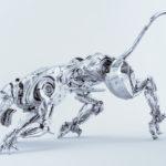 Elegant silver robot panther hunter 3d render in side angle