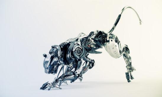 Steel robotic jaguar cat 3d side render. Panther - a mythical creature resembling a large black cat