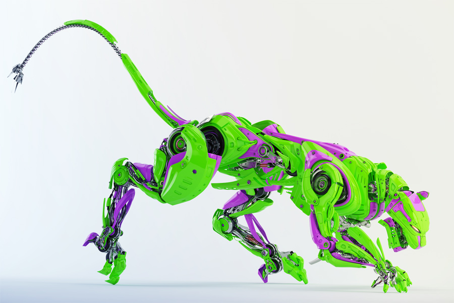 Toxic robot panther in bright green with violet colors 3d render