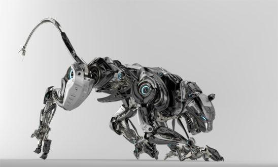 Steel robotic jaguar cat 3d side render. Panther – a mythical creature resembling a large black cat