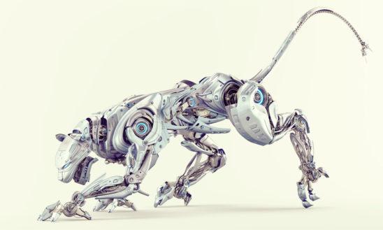 Light blue pearl robot panther hunting 3d render