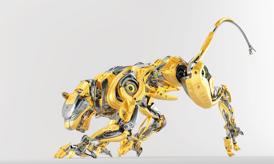 Fashionable robotic panther in side creeping pose, 3d render