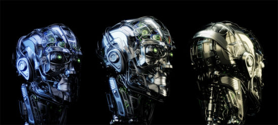 Steel mecha robotic heads trio in different angles on black background