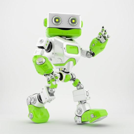 Smiling walking and greeting retro robot