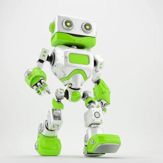 Friendly walking retro robot 3d render