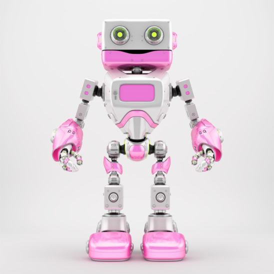 Positive white pink retro robotic toy 3d render
