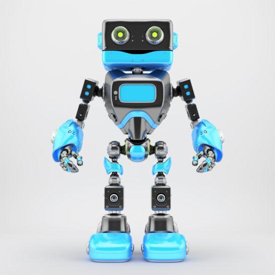 Black and blue retro robotic toy 3d render