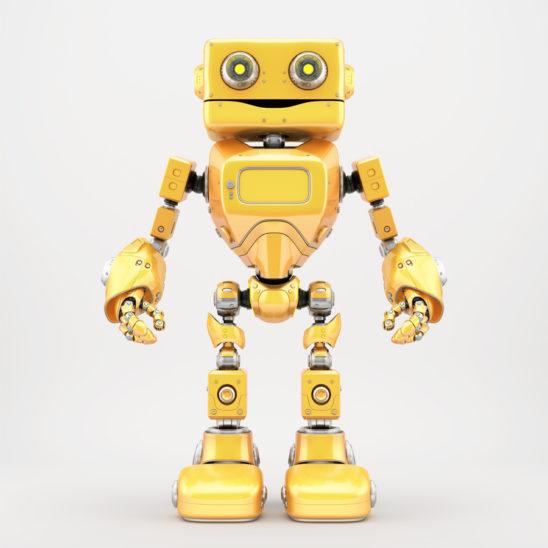 Bright yellow retro robotic toy 3d render
