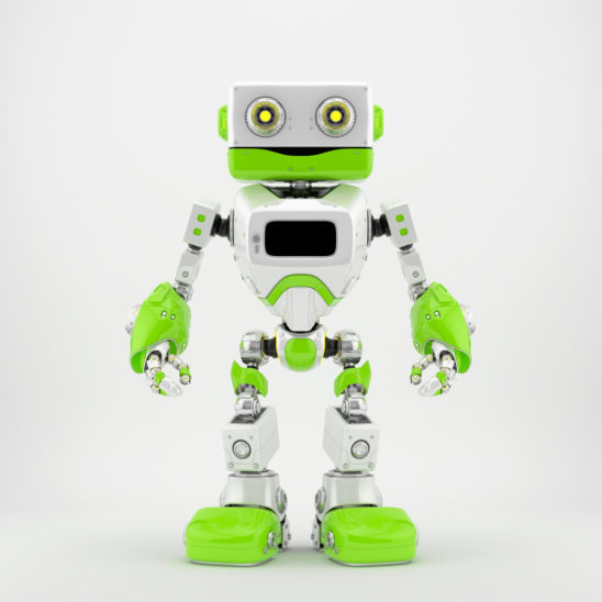 Fresh green old-styled robot in front 3d render