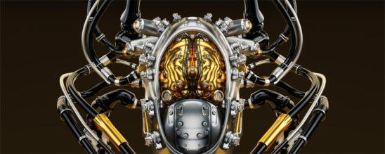 Connected luxury robotic brain in cyborg head 3d render