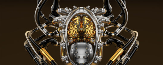 Connected luxury robotic gold-plated brain on black background, 3d render