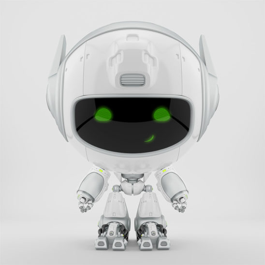 White robot pr manager, unusual robotic character with funny prick-ears