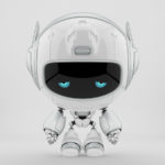 Sad white robot pr manager, unusual robotic character with funny prick-ears