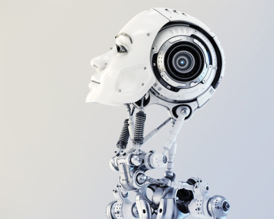Woman robotic head in side render