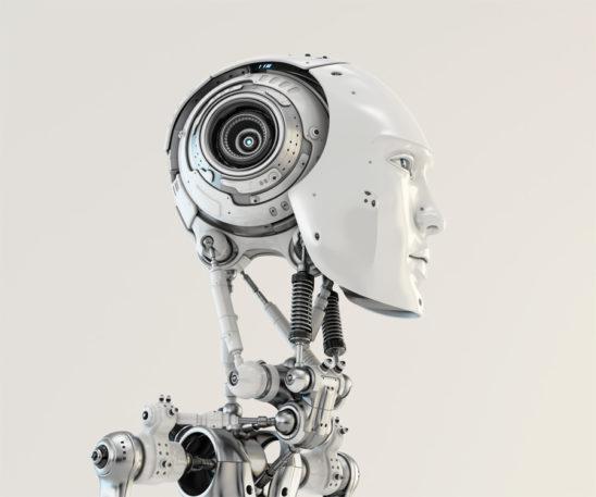 Stylish cyborg. Eternal handsome robotic man