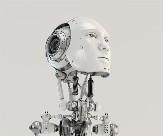 Men's slightly raised robotic head