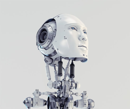 Men's slightly raised robotic head 3d render