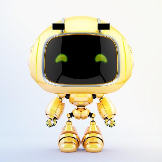 Cute robotic toy - mini unit 9 robot 3d render