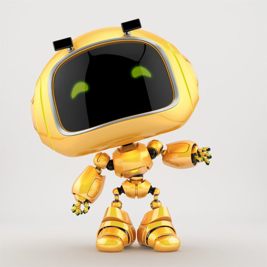 Adorable mini unit 9 in front pose gesturing. 3d render