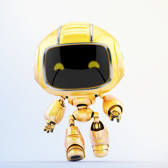 Cute robotic toy – walking mini unit 9 robot, 3d render