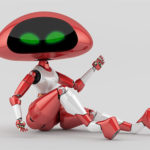 Sexy, charming cherry ufo robot girl sitting 3d render