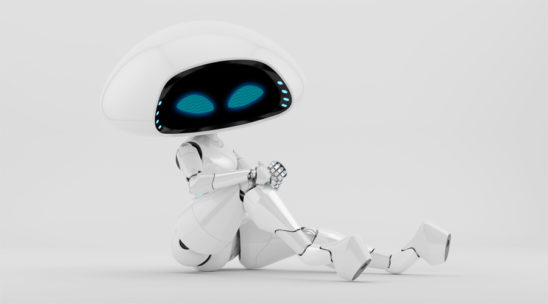 Charming sexy white alien robotic girl sitting
