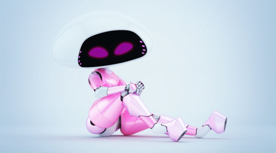 Charming sexy girlish pink-white ufo robotic girl sitting 3d render