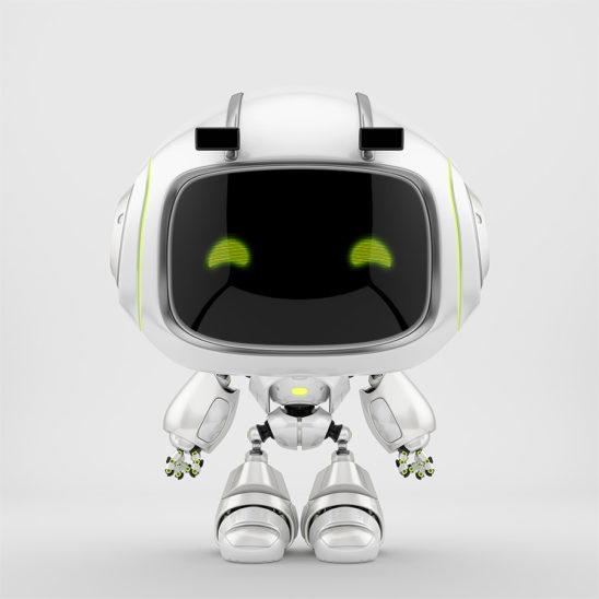 Cute white robotic toy – mini unit 9 robot 3d render