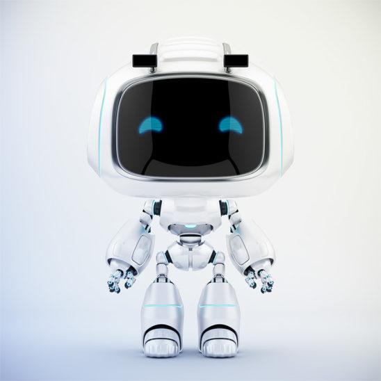 Cute white robotic teen – mini unit 9 robot 3d render