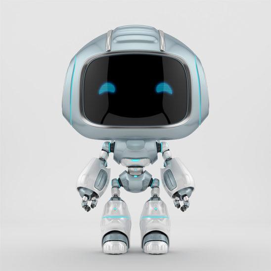 Cute grey robotic teen – mini unit 9 robot 3d render
