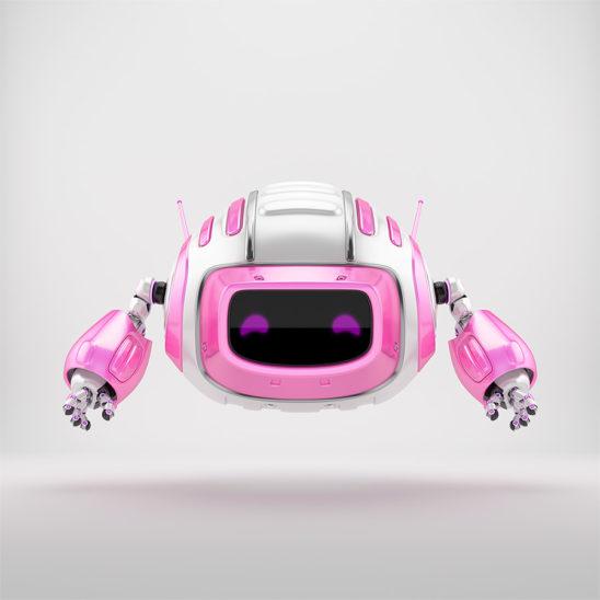 Pink girlish robot cutan aerial toy 3d render