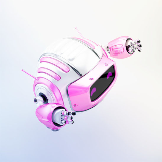 Pink girlish robot cutan aerial toy in side 3d render