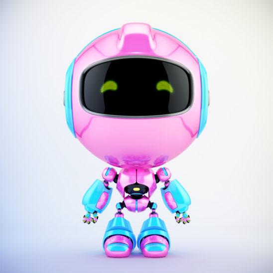 Pink-blue Pr cute robot toy in front 3d render