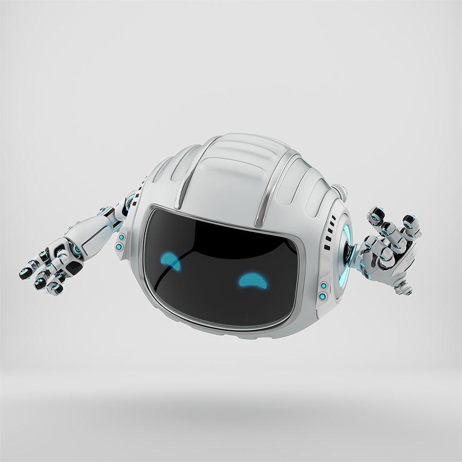 Gesturing cutan aerial silver robot with led screen showing digital eyes