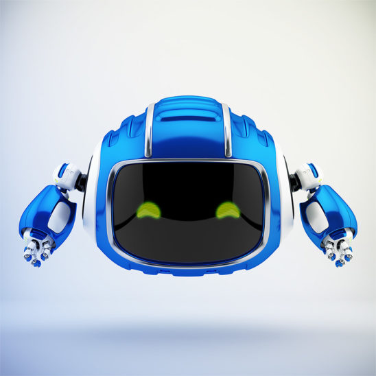 Robotic aerial creature in ultra blue color with digital face and blue eyes