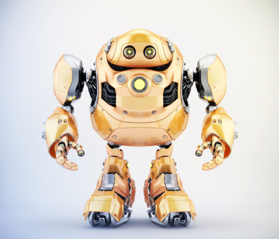 Golden robotic turtle in front 3d render