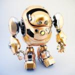 Golden robotic turtle in upper view 3d render