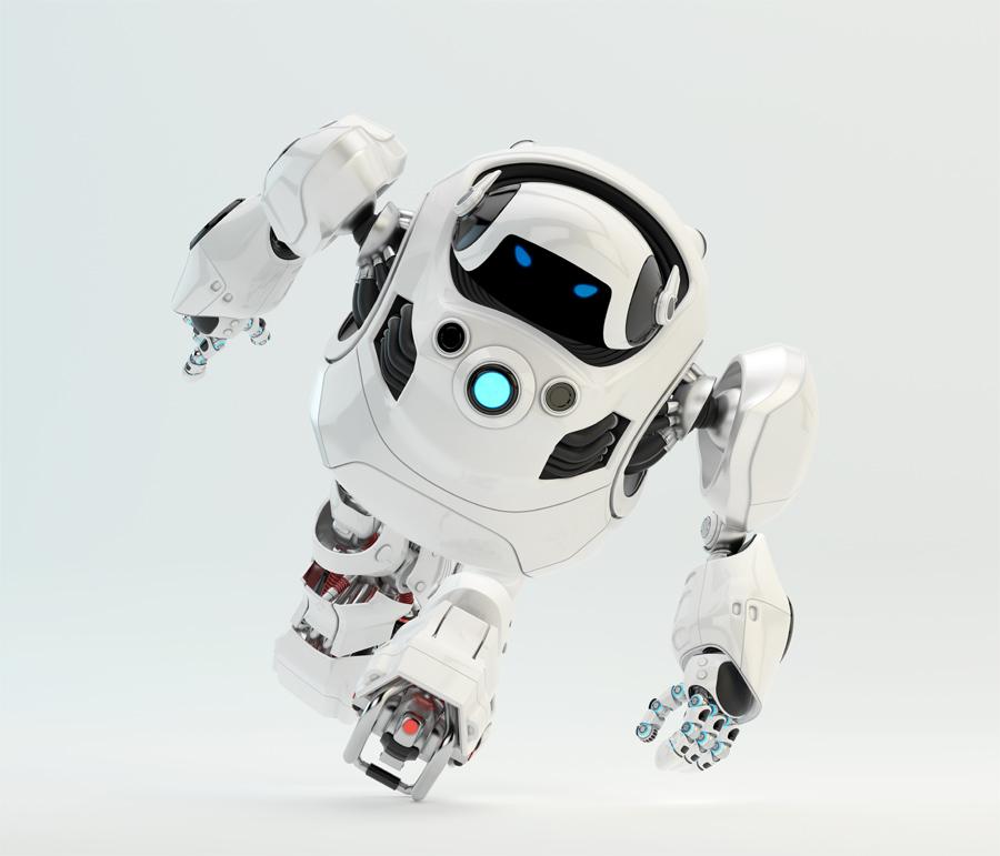 Running white cyber turtle 3d render
