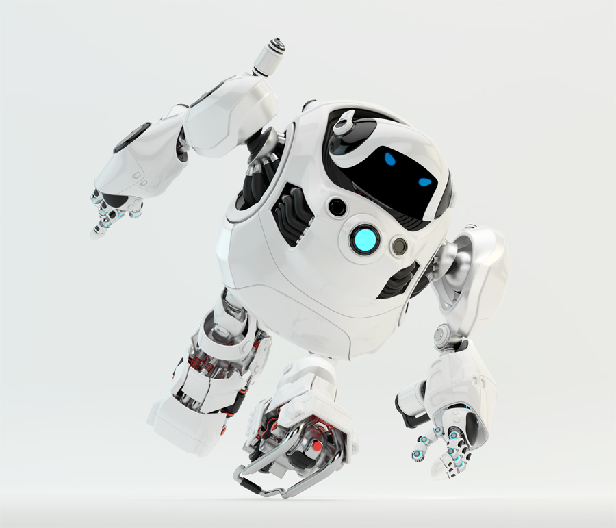 Glossy white massive jogging cyber turtle 3d render