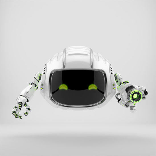 Modern aerial Cutan robotic toy with blaster gun