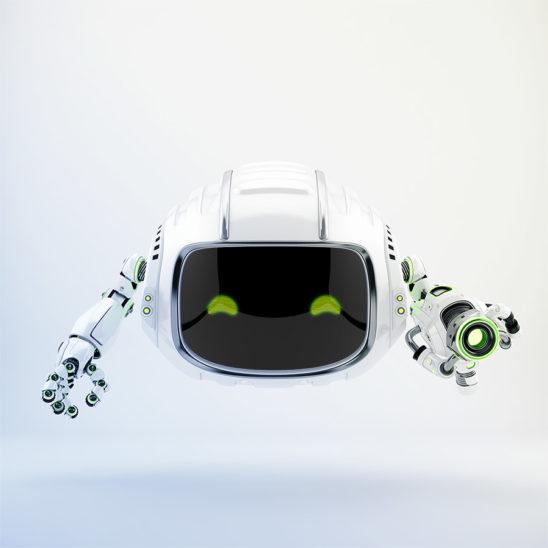 Modern aerial Cutan robotic toy with blaster gun 3d rendering