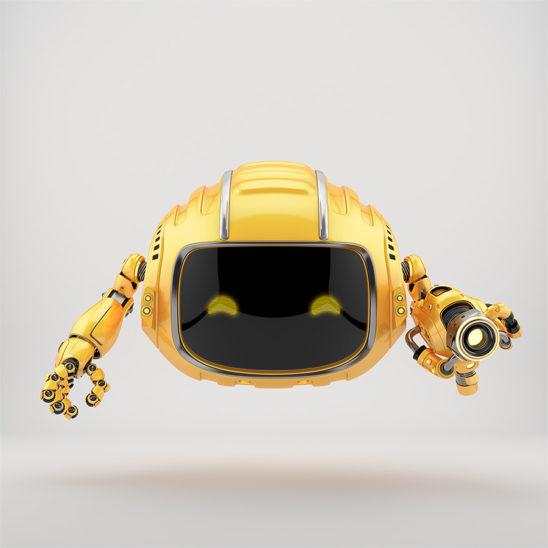 Orange aerial Cutan robotic toy with blaster gun 3d render