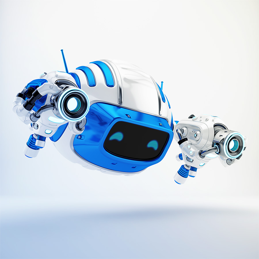 Serious aerial Cutan robotic toy with two laser guns in side 3d render