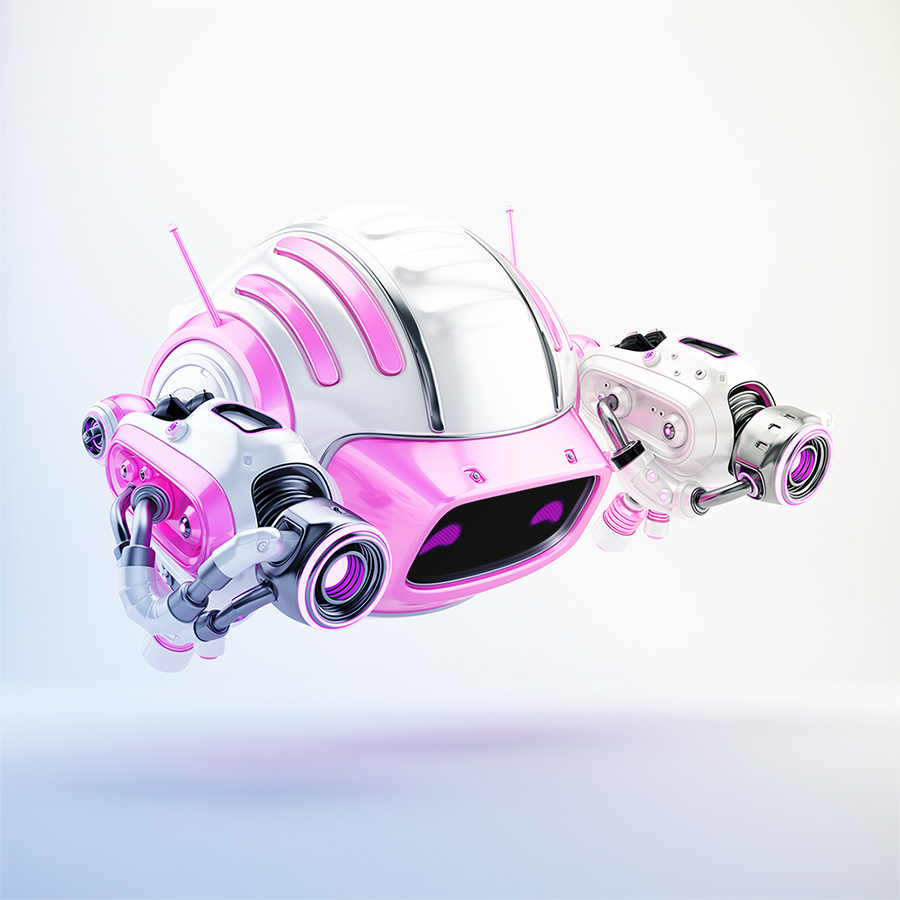 Girlish pink aerial Cutan robotic toy with two laser guns in side 3d render